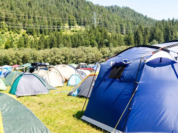 Wiese voller Zelte