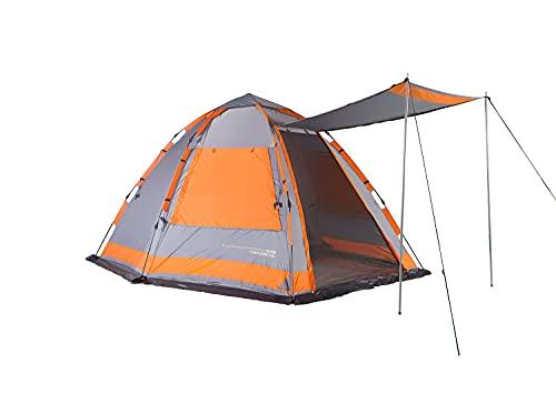 Lumaland Where Tomorrow Familienzelt 4-Personen Zelt mit Sonnendach - 340x280x185 cm - Pop Up Wurfzelt - ideal für Camping Festival etc. - wasserdicht, robust, Quick-Up-System Grau