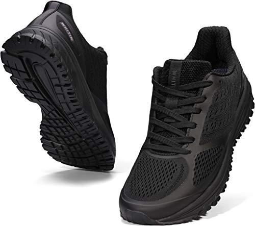 WHITIN Laufschuhe Herren Joggingschuhe Straßenlaufschuhe Turnschuhe Sportschuhe Gym Schuhe Walkingschuhe Fitnessschuhe Leichte Sommerschuhe Dämpfung Alltagsschuh Atmungsaktiv Schwarz 42 EU