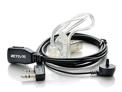 Retevis Funkgerät Headset 2 Pin Kompatibel mit Walkie Talkie Retevis RT24 Plus RT622 RT27 Baofeng UV-5R Plus BF-888S BF-88E Kenwood Sicherheits-Headset Kopfhörer Ohrhörer (1 Stuck)