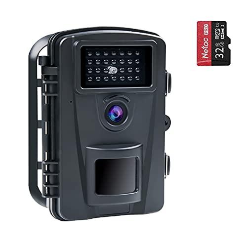 COOLIFE 16MP 1080P HD Wildkamera Fotofalle IP66 Wasserdicht Jagdkamera 940nm IR LEDs Nachtsicht Bewegungsmelder 0,2s Schnelle Trigger Geschwindigkeit Nachtsicht Wildkamera mit 32G Speicherkarte