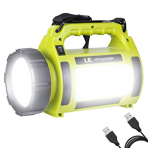 LE LED Handscheinwerfer 1000 Lumen, Wiederaufladbare CREE Akku Handlampe mit 3600mAh Powerbank, 10W Dimmbare Taschenlampe inkl. 3 Lichtmodi 2 Helligkeitsstufen, USB-Kabel für Notfall Camping usw.