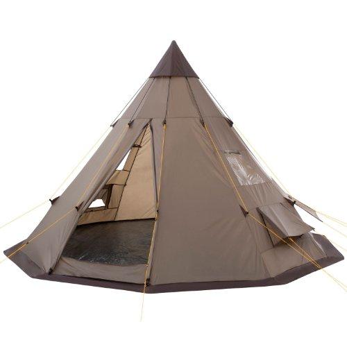 CampFeuer Tipi Zelt Spirit für 4 Personen   Firstzelt   3.000 mm Wassersäule   Indianerzelt für Camping, Wandern   Pyramidenzelt (braun)