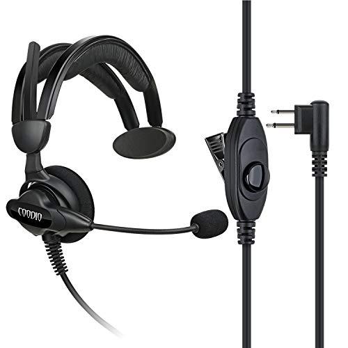 COODIO Motorola Funkgeräte Ohrhörer 2 Pin Über-Ohr Security Headset [Swivel Boom Mikrofon] [Noise Cancelling] Kopfhörer Mikrofon Für Motorola CP040, Hytera, Midland PMR