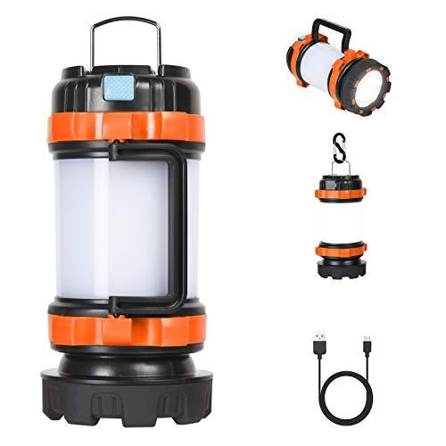 Flintronic LED Camping Lampe, 1000 Lumen Wiederaufladbare Handlampe, Wasserdicht Suchscheinwerfer mit 4 Leuchtmodi und USB-Kabel, 3600mAh Akkulampe Powerbank für Camping, Nachtfischen, Jagen