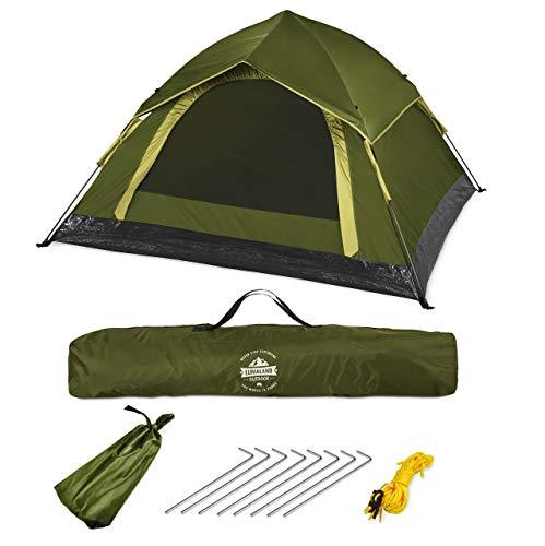 Lumaland Outdoor leichtes Pop Up Wurfzelt 3 Personen Zelt Camping Festival etc. 210 x 190 x 110 cm robust Grün