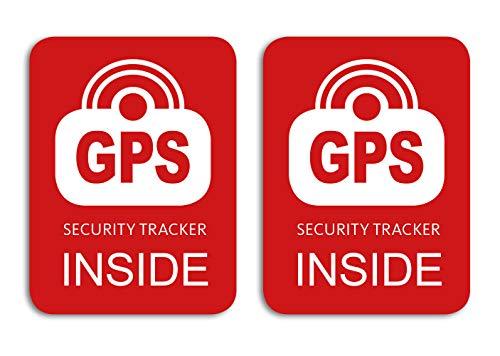 GPS Security Tracker Inside Aufkleber2 Stück Fahrrad Bike Sticker Rot Wetterfest UV-Beständig