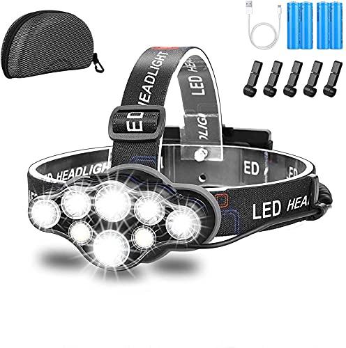 Stirnlampe,Superheller USB Wiederaufladbare Kopflampe,18000 Lumen 8 LED 8 Modi Mit Rotem Blitzlicht LED Stirnlampe,Wasserdicht kopflampe Für Camping,Fischen,Laufen,Joggen(Mit 4 Batterien)