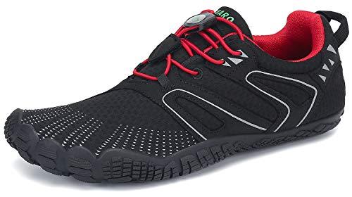 SAGUARO Barfußschuhe Damen Outdoor Sport Traillaufschuhe Fitnessschuhe Frauen Barfuß Laufschuhe Walkingschuhe Minimalistische Zehenschuhe St.6 Rot 40