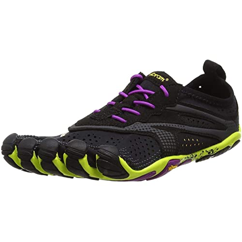 Vibram FiveFingers 16W3105 V-RUN, Sneaker Damen, Mehrfarbig (Schwarz / Gelb / Lila), 38 EU