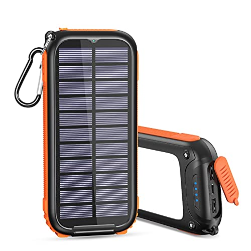 A ADDTOP Solar Powerbank Tragbares Solar Ladegerät 26800mAh mit 32 LEDs Helles Licht USB C Power Bank mit 3 Ausgängen für Smartphones, Tablets und mehr