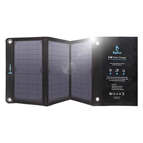 BigBlue Solar Ladegerät, 21W Solarpanel Tragbar mit 2 USB Port (3.8A insgesamt) Kompatibel mit iPhone und Android Smartphones, Tablets, Anderen USB-ladenden Geräten