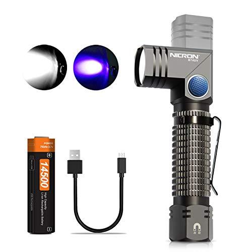 NICRON UV Schwarzlicht LED Taschenlampe 700 Lumen, 90 Grad Drehbar Kopf, IP65 Wasserdicht, 395nm Ultraviolett mit Magnet, Detektor für eingetrocknete Urin-Flecken von Hunde, Katzen B74UV