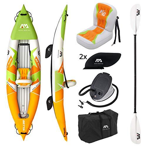 """Kajak aufblasbar im Set BETTA-312 2020 10'3"""" 1 Person Kanu Schlauchboot mit Paddel, Pumpe, Tasche 312 x 80 cm Orange/Grün"""