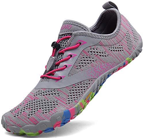 SAGUARO Barfussschuhe Frauen Schnell Trocknend Trail Laufschuhe Damen Leicht Fitnessschuhe Barfuß Zehen Sport Outdoor Schuhe Fliegender Stoff, 020 Rosa, 39 EU