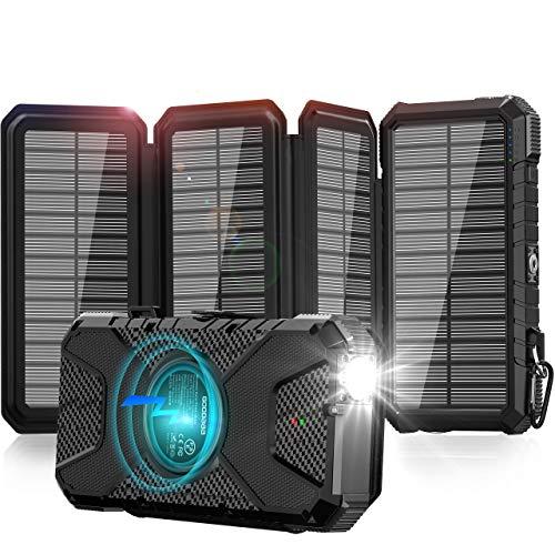 GOODaaa Solar Powerbank 26800mAh, Wireless Solar Powerbank mit 3 Ausgängen, Outdoor Powerbank für Smartphones, Tablets und USB-Geräte