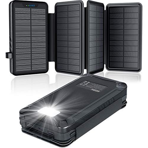 Solar PowerBank 26800mAh, Solar Ladegerät mit 4 Solarpanels, Taschenlampe, Zwei 5V 2.1A USB-Ports Externer Akku Kompatibel Für Smartphones, Tablets Outdoor Camping Ladegerät Black