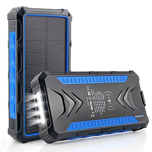 DJROLL 36000mAh Qi Wireless Solar Powerbank mit 4 USB/Typ C Ausgängen und LED-Lampe, Tragbares Outdoor Wasserdichtem Power Bank Solarpanel Kompatibel für iPhone Samsung Smartphones