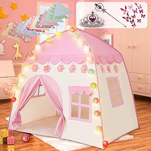 Labeol Kinderspielzelt für Mädchen Prinzessin Spielzelt Kinderzimmer für Drinnen Outdoor Sicherheit Ungiftig mit Baumwollball-Leuchten Gefrorener Prinzessin-Krone-Zauberstab 130*100*130 Großes