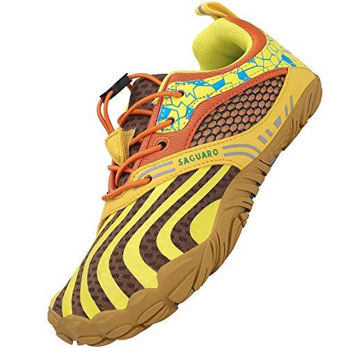 SAGUARO Kinder Barfußschuhe Mädchen Traillaufschuhe JungenTrainingsschuhe Zehenschuhe Atmungsaktiv rutschfest Walkingschuhe Laufschuhe Schnell Trocknend Badeschuhe, Gelb 31